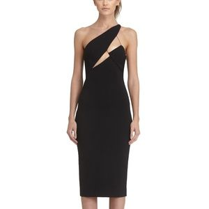 AQ/AQ Pembroke Black One Shoulder Midi Dress